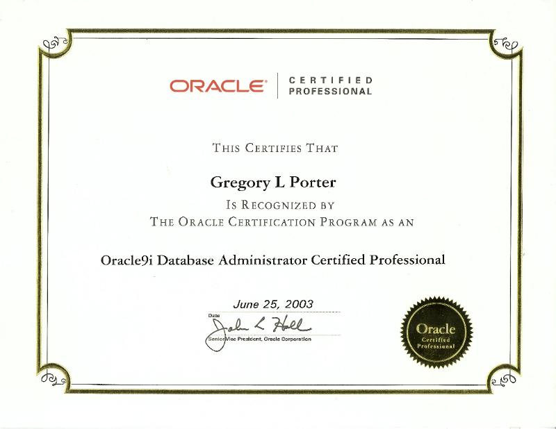 Greg\'s Certifications | Greg Porter\'s Blog
