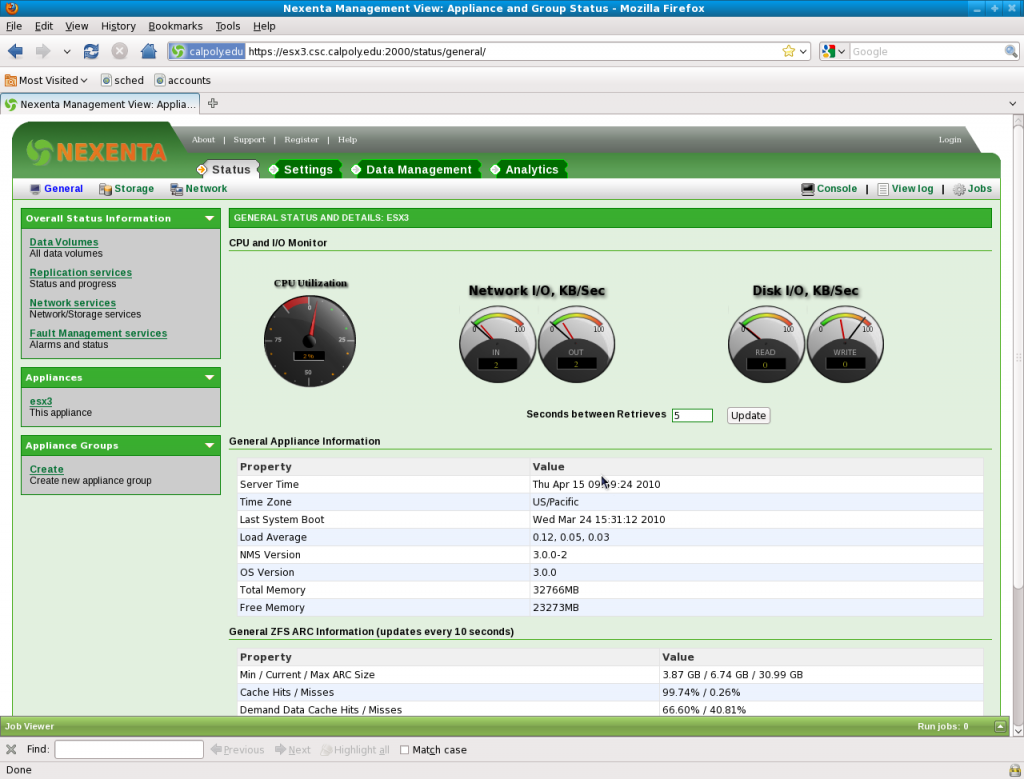 NexentaStor 3.0 Main Dashboard