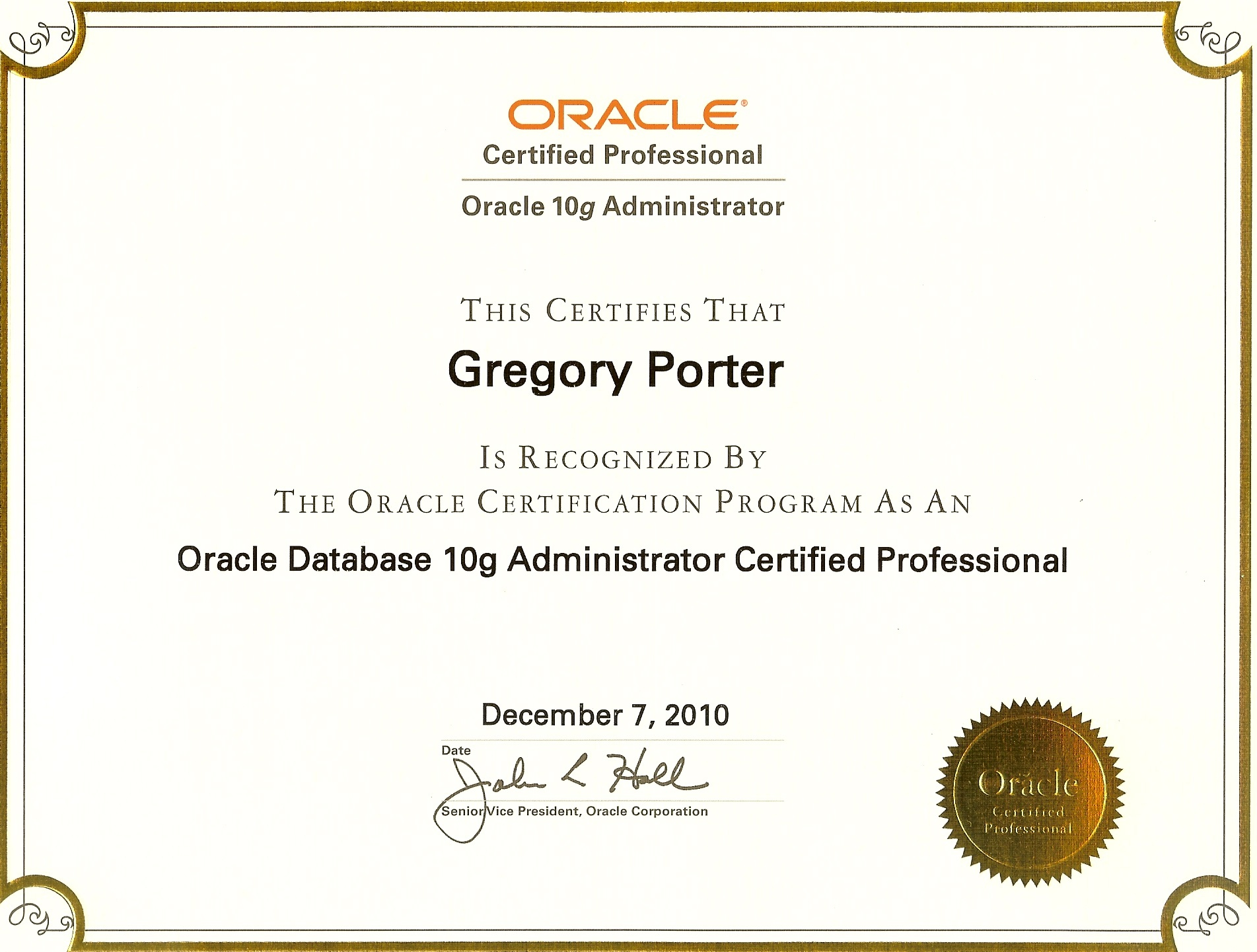 Oracle 10g Dba Ocp Passed 1z0 040 Oracle Database 10g New